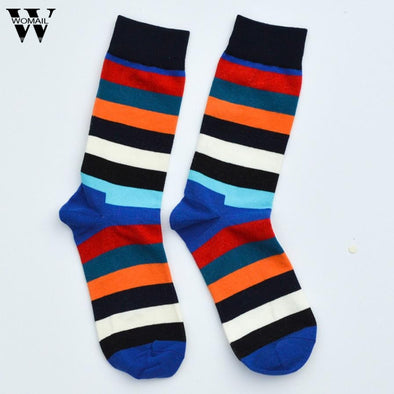 1 Pair men socks Middle cotton Dress sock colorful breathable Striped socks