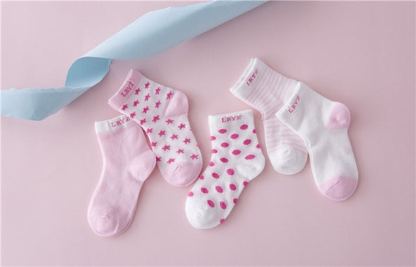5 Pair New Dot Kids Socks Summer Thin Comfortable Breathable Cotton Fashion Baby Socks Toddler Girls for 0-6 Year