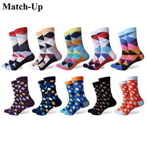 Match-Up Fun Dress Socks - Colorful Funky Socks for Men - Cotton Fashion Patterned Socks  Dot and Argyle style (10 Pairs/lot)