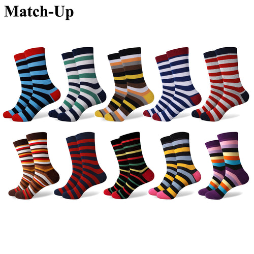Match-Up Fun Dress Socks - Colorful Funky Socks for Men - Cotton Fashion Patterned Socks Stripe style (10 Pairs/lot)
