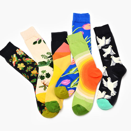 Colour Crew Cotton Men Ankle Socks Tide Brand Short  Happy Sox Style Funny Socks Chaussette Novelty Art for Couple Funny Funky