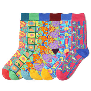 Cotton Dress Socks for Men and Women Mid Calf Funky Color Hosiery