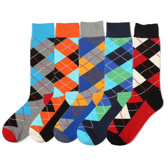 Cotton Dress Socks for Men and Women Mid Calf Funky Color