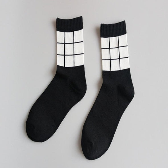 Men's Black and white fashion Breathable socks