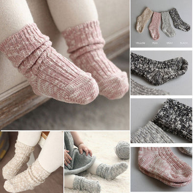 Brand New Kids Socks Solid Candy Color Cotton Baby Anti Slip Warm Soft Socks For Boy Girl Toddler 0-4T
