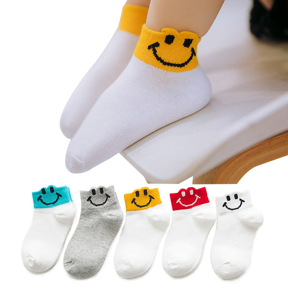 Muslinlife  Kids Socks 5pairs Soft Cotton Kids Socks Boys Girls Summer Spring Cartoon Socks Breathable Suit for 0 to 12years