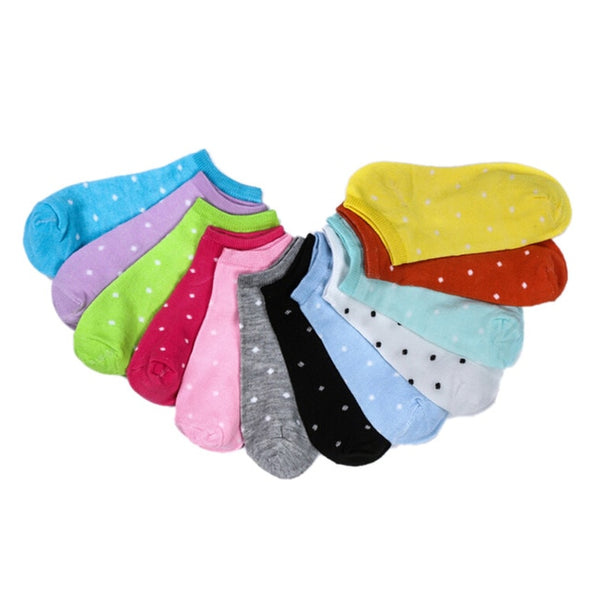 5 Pair Cute Bamboo Socks Girls Children Kids Heart Dot Solid Socks