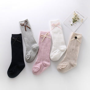 Button bow Newborn Baby Girl Boy Toddler Cable Knit Knee High Cotton Socks 5 Pack