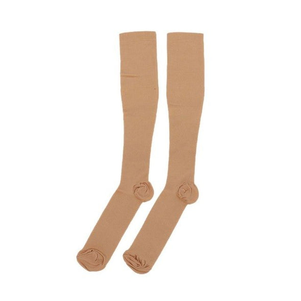 Men Women Nylon Compression Long Socks Outdoor Stocking for Varicose Vein Antifatigue Nurses Shin Splints Flight (3 Pair)