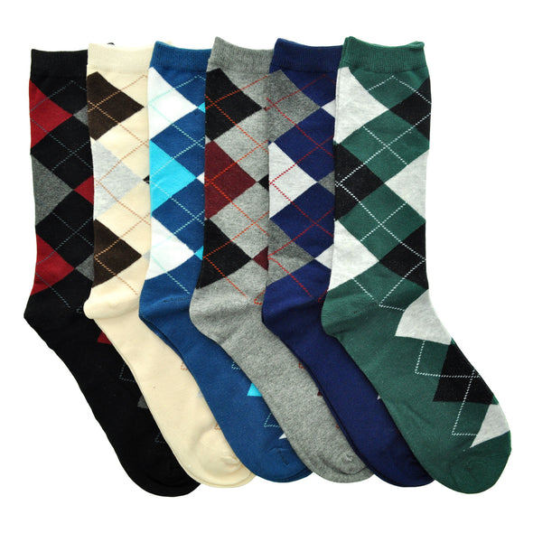 Men's Cotton Dress Socks with Argyle Pattern (6 Pairs)