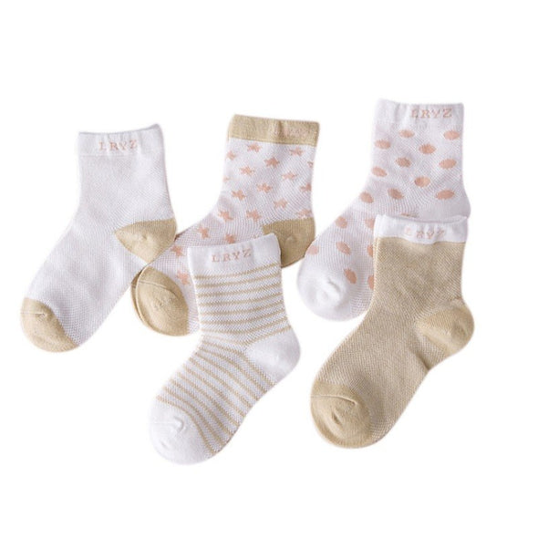 5 Pair Baby Socks Neonatal Summer Mesh Cotton Polka dots plain stripes Kids Girls Boys Children Socks For 0-6 Year