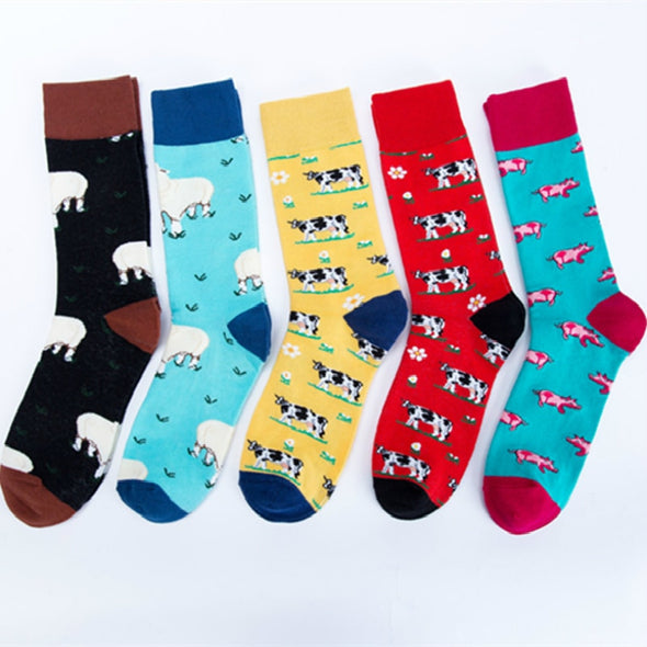 Cartoon Farm Animals Cute Sheep Cow Pig Funky Harajuku Men Colorful Happy Socks Autumn Funny Hip Hop Casual Cotton Socks Winter