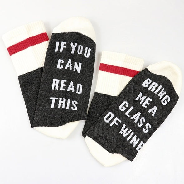 Women Wine Socks Print Letter Cute Autumn Spring Meia Funny Socks 2018 New Arrival Chaussette Femme Winter Warmly Meias Dropship