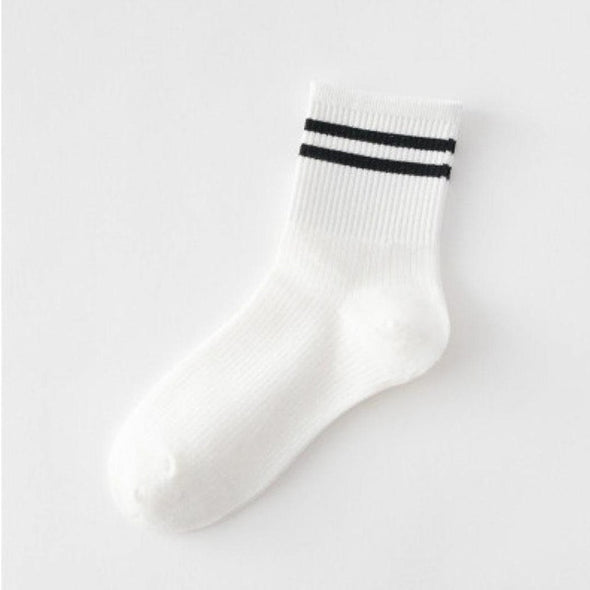 Green Black Red Mid Socks Women Casual 1 Pair Striped Yellow Socks Cotton 8cm Tube Gray Comfortable White 2cm