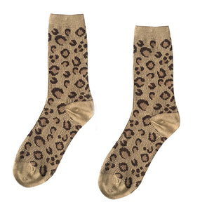 Women Vintage Leopard Mid-long calf Khaki Cotton Socks