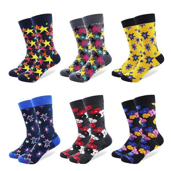 6 Pair Luxury Combed Cotton Men's Socks - Bright Star Pattern Colorful