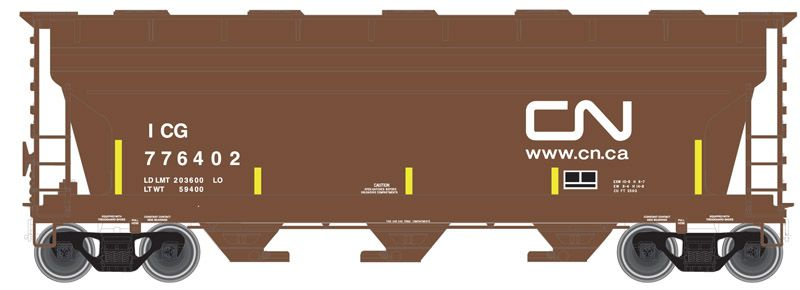 ACF 3560 Covered Hopper - (CN) Brown/White w/ICG Reporting Marks & Yellow Visibility Marks