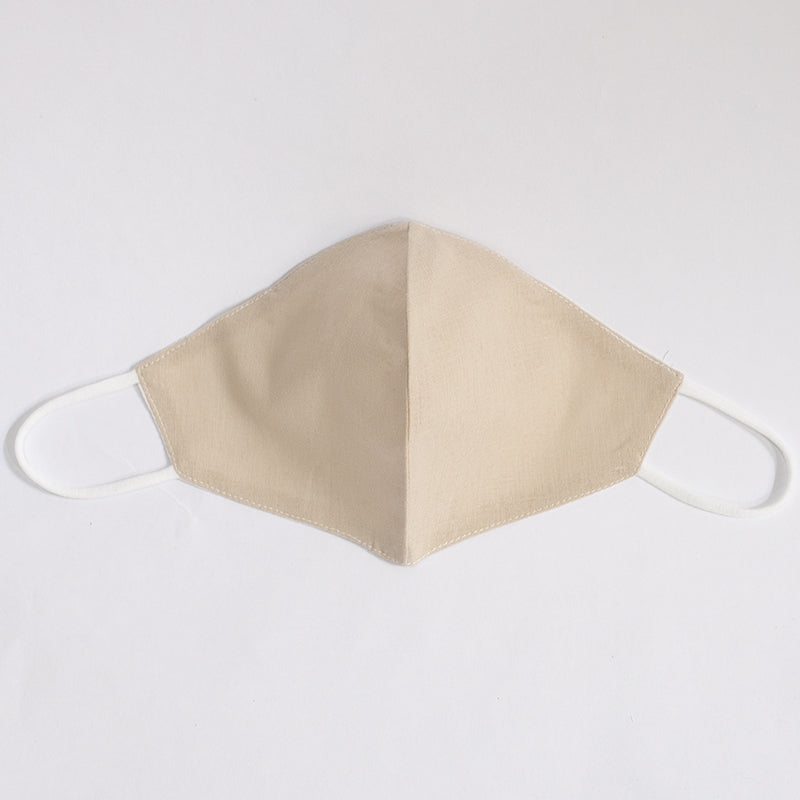 Fresh Cotton Linen Plain Color Mask Desert Sand