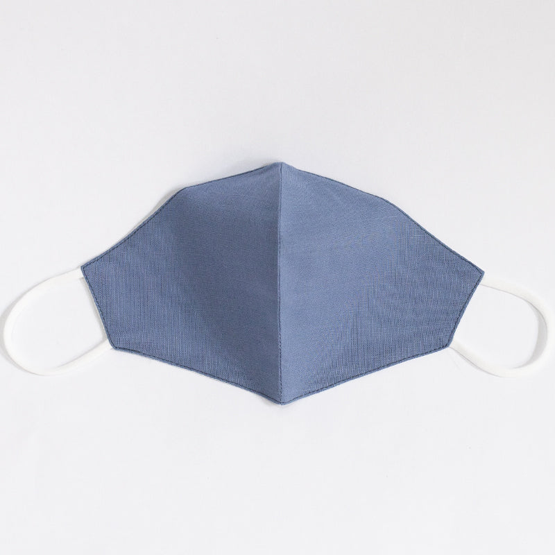 Cotton Linen Plain Color Mask Blue Denim