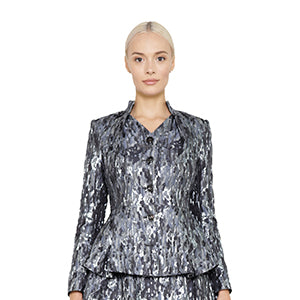 witch-witch - Lurex Silver Jacquard Camouflage Jacket - Giulia & Grace - Woman Jacket