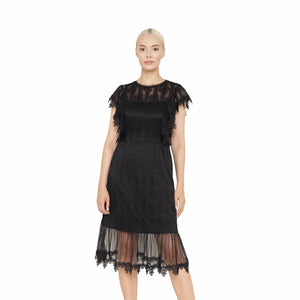 witch-witch - Long Lace Dress with short sleeve - Giulia & Grace - Woman Dress