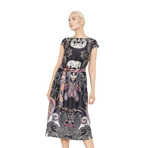 witch-witch - Long Elegant Printed Dress - Giulia & Grace - Woman Dress