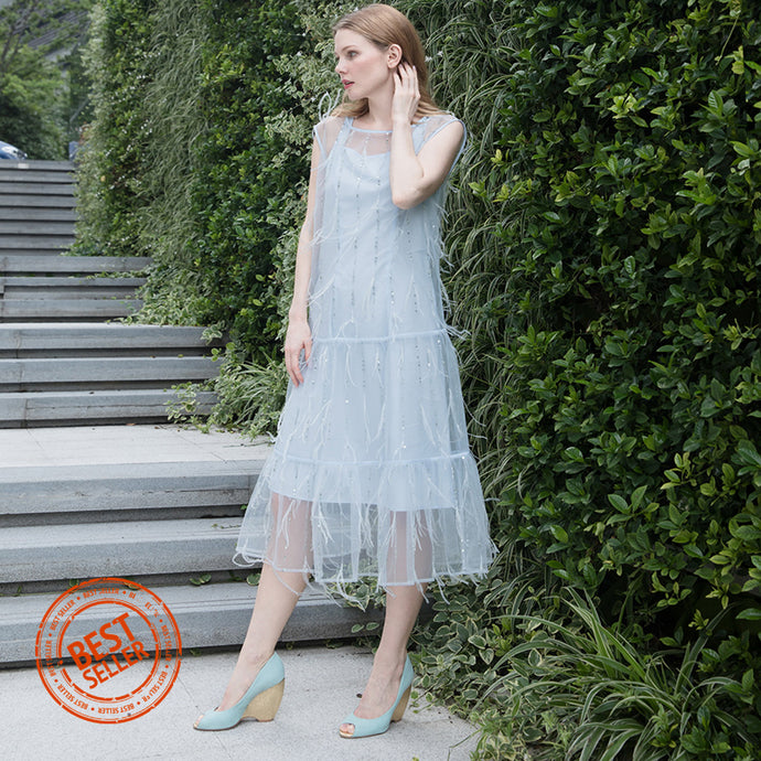 witch-witch - Long Tulle Dress with feather and sequin - Giulia & Grace - Woman Dress