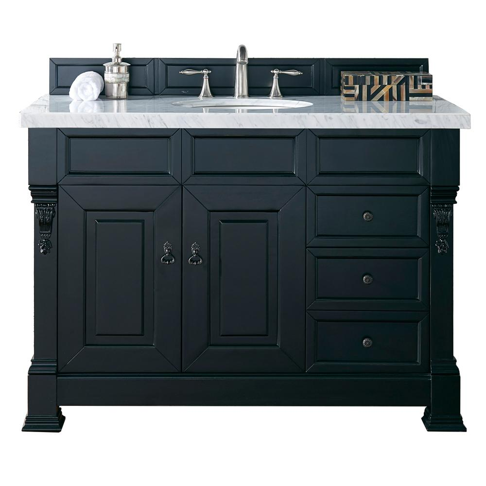 "48"" Brookfield Antique Black w/ Drawers Single Bathroom Vanity, James Martin Vanities - vanitiesdepot.com"