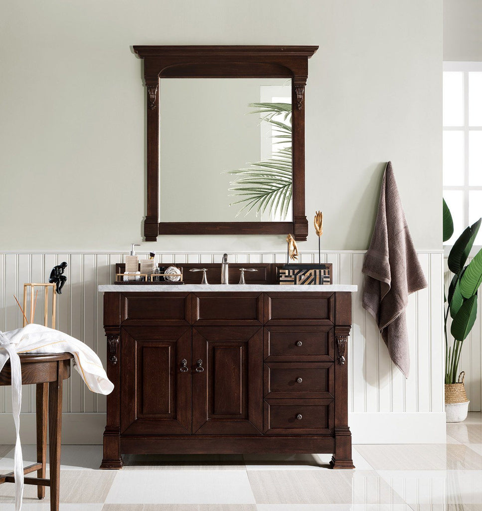 "48"" Brookfield Burnished Mahogany w/ Drawers Single Bathroom Vanity, James Martin Vanities - vanitiesdepot.com"