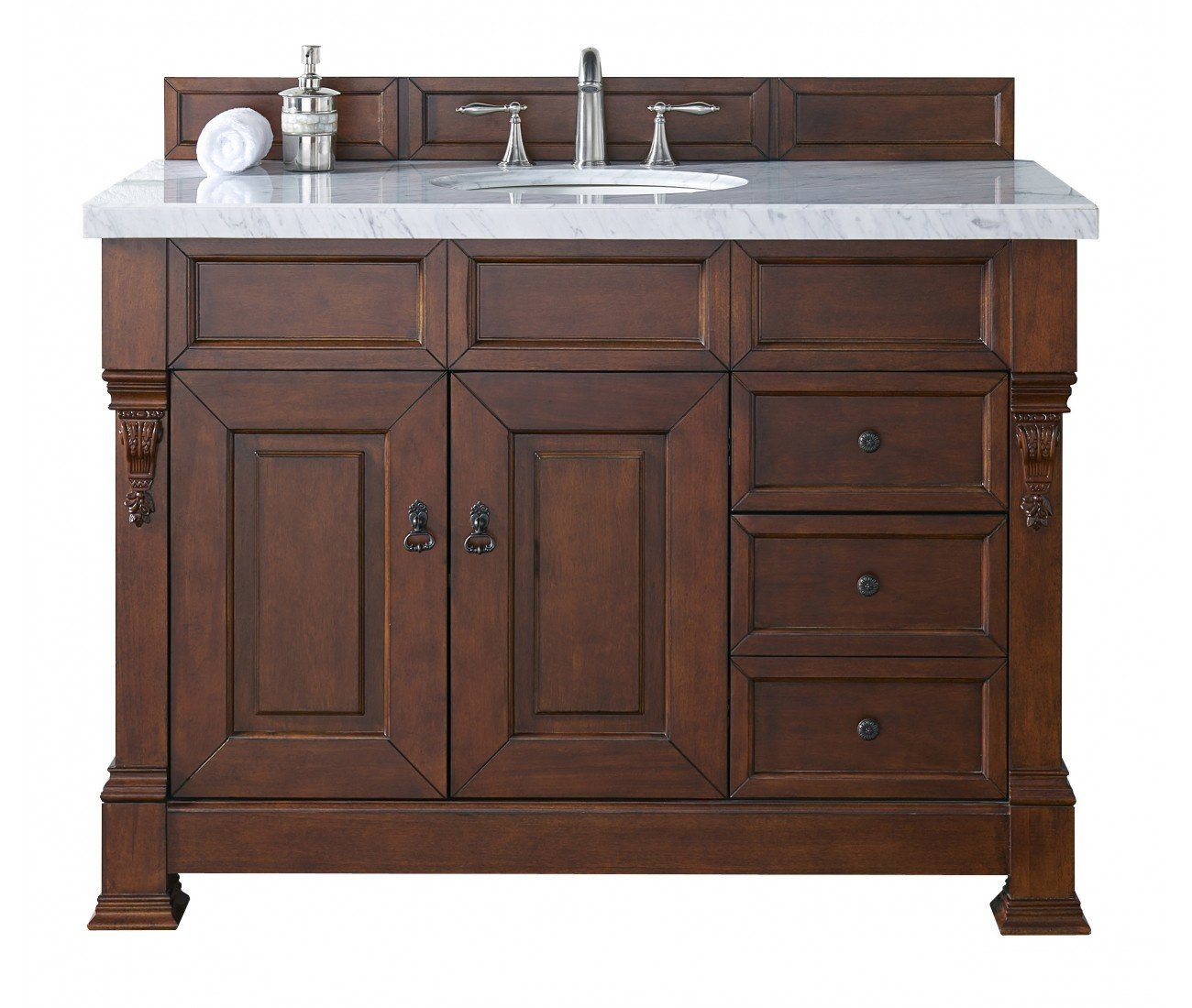"48"" Brookfield Warm Cherry w/ Drawers Single Bathroom Vanity, James Martin Vanities - vanitiesdepot.com"