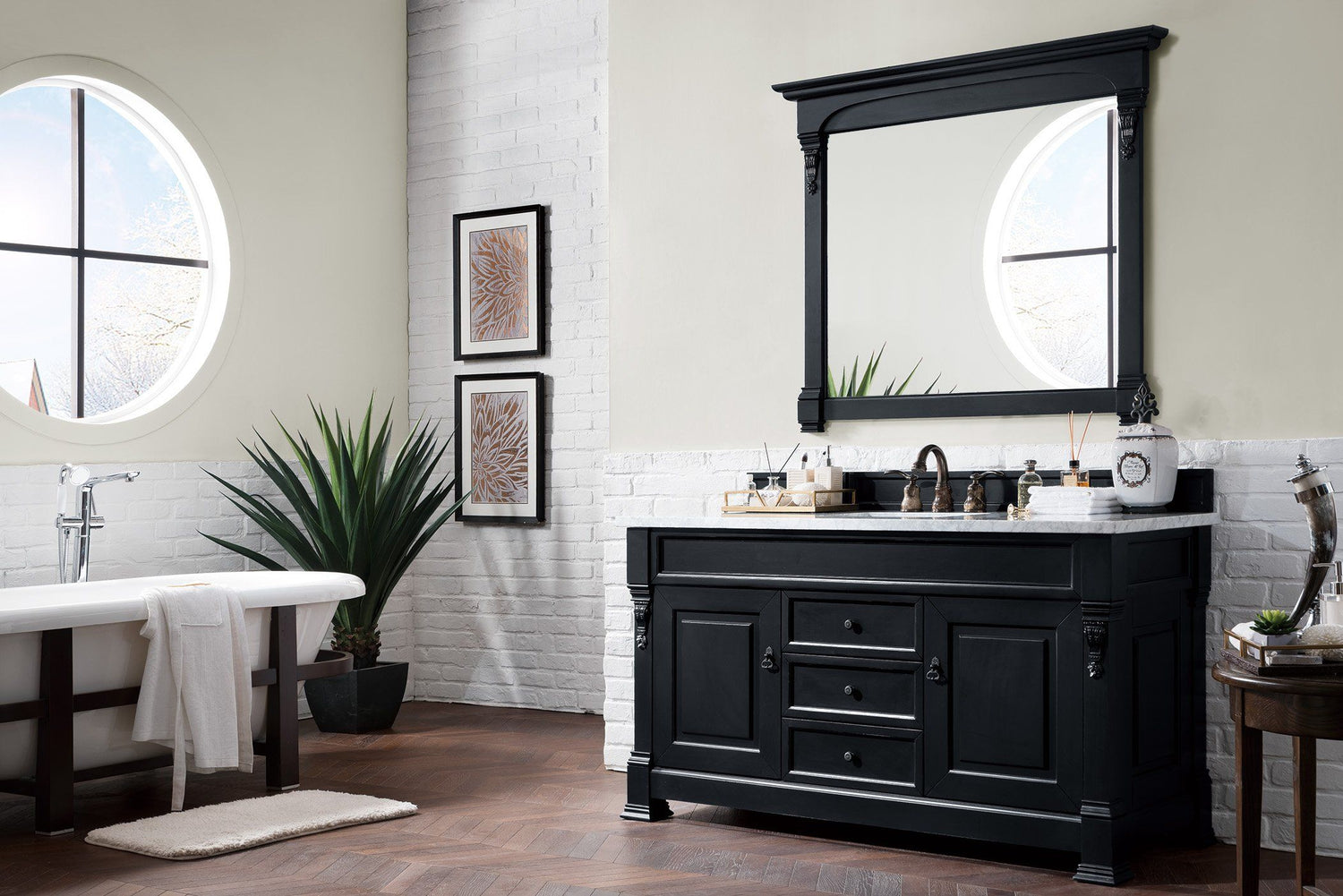 "60"" Brookfield Antique Black Single Bathroom Vanity, James Martin Vanities - vanitiesdepot.com"
