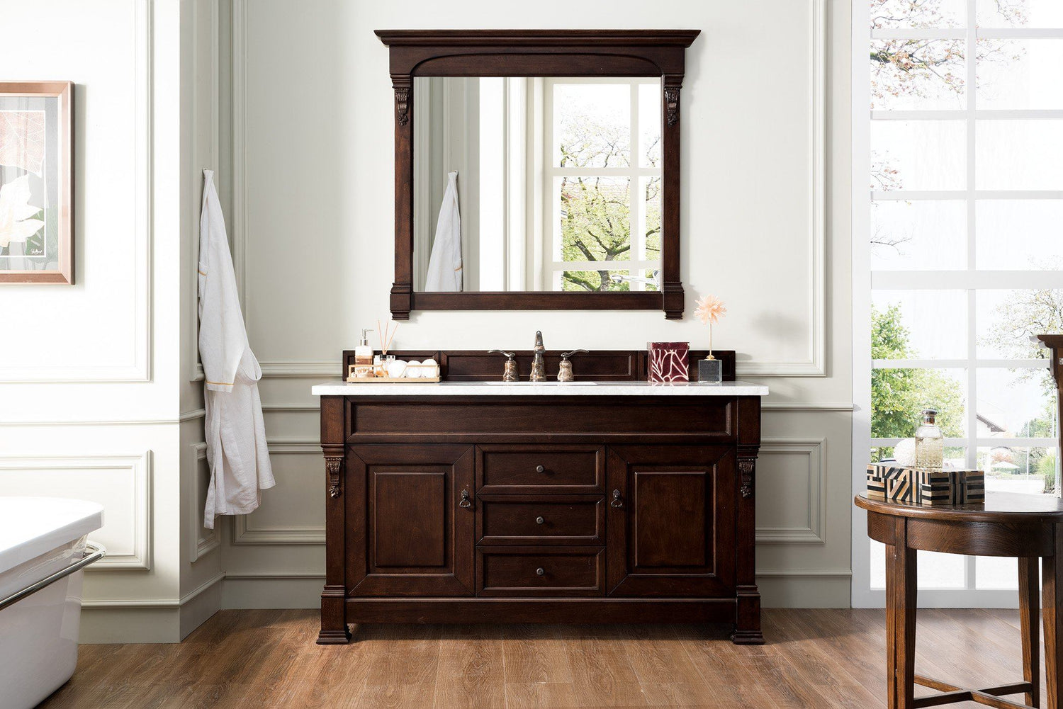 "60"" Brookfield Burnished Mahogany Single Bathroom Vanity - vanitiesdepot.com"