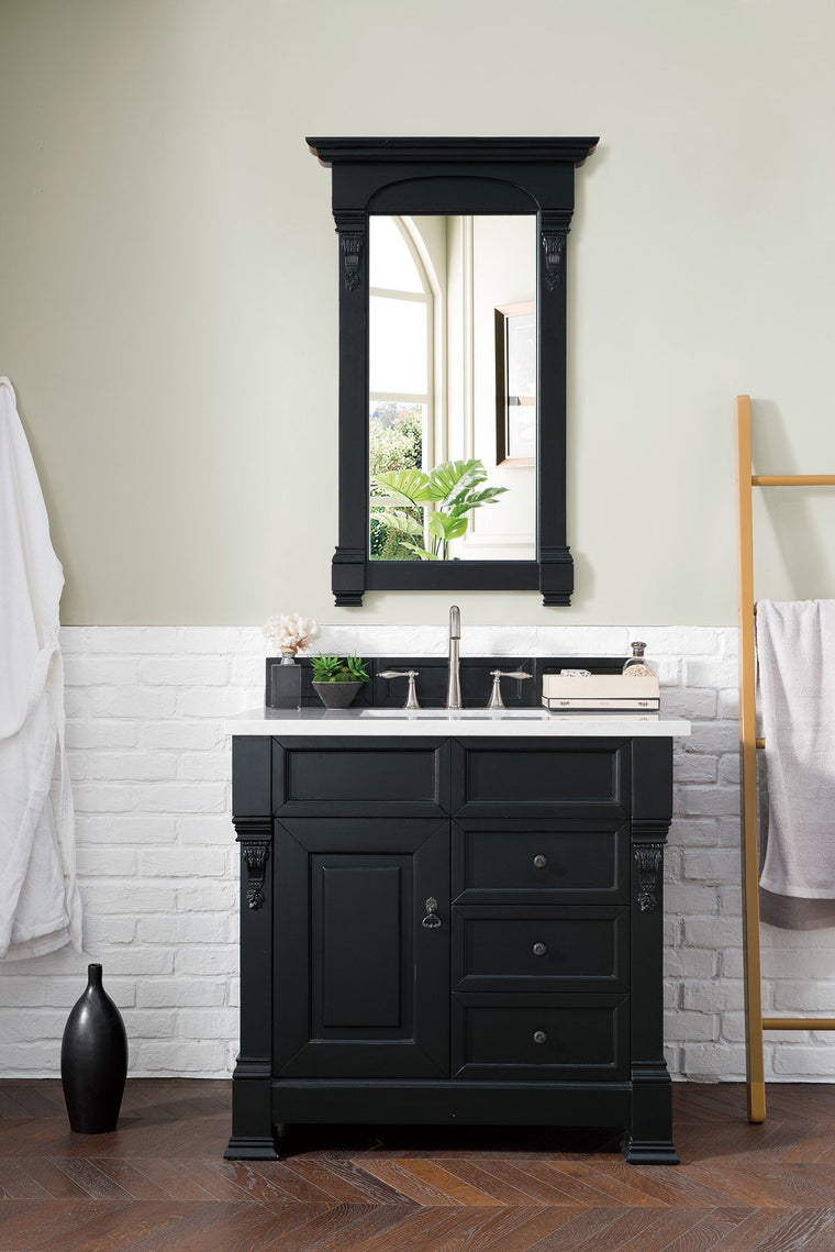 "36"" Brookfield Antique Black Single Bathroom Vanity w/Drawers - vanitiesdepot.com"