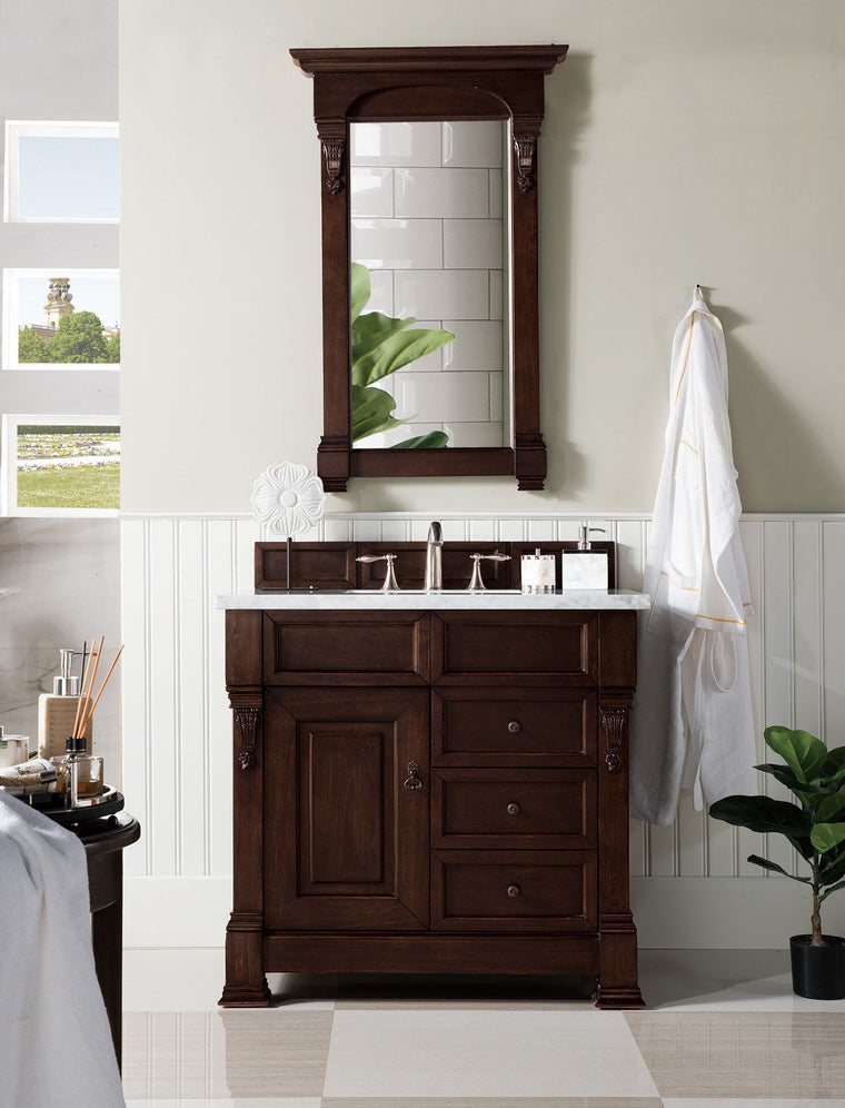 "36"" Brookfield Burnished Mahogany Single Bathroom Vanity w/Drawers, James Martin Vanities - vanitiesdepot.com"
