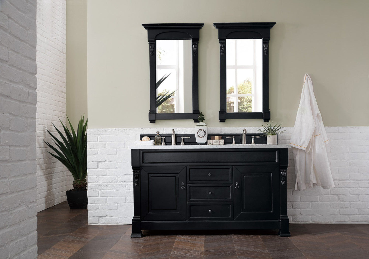 "60"" Brookfield Antique Black Double Vanity Bathroom Vanity, James Martin Vanities - vanitiesdepot.com"