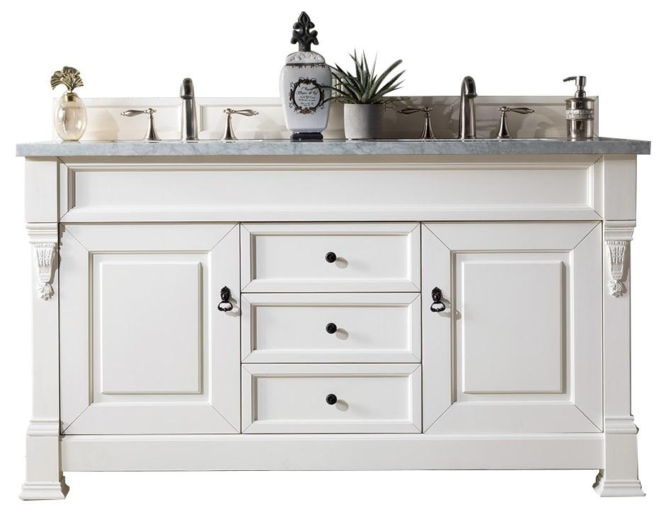 "60"" Brookfield Bright White Double Vanity Bathroom Vanity"