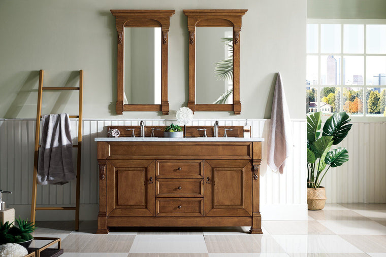 "60"" Brookfield Country Oak Double Bathroom Vanity - vanitiesdepot.com"