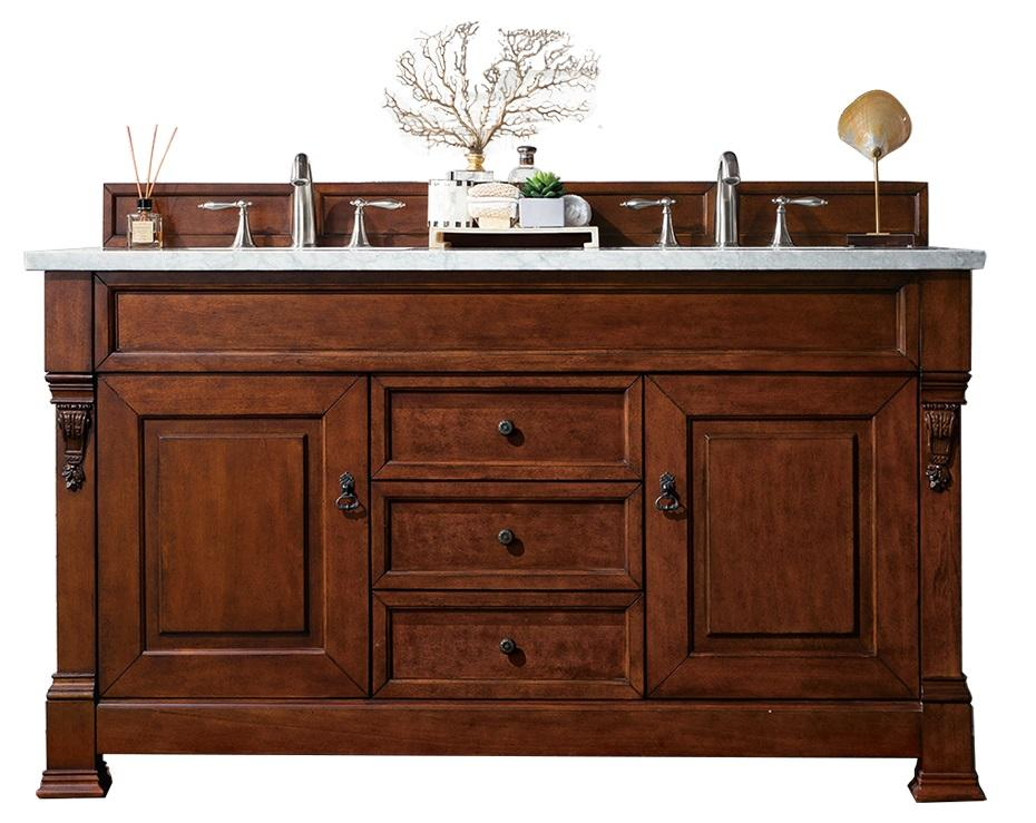 "60"" Brookfield Warm Cherry Double Bathroom Vanity, James Martin Vanities - vanitiesdepot.com"