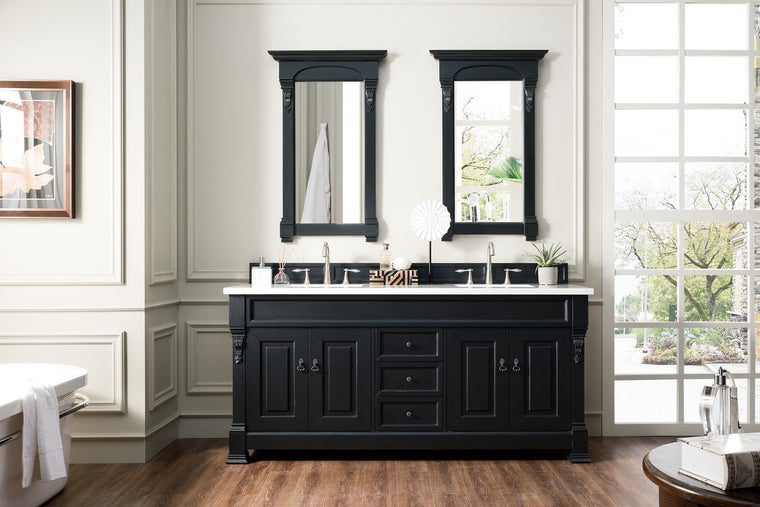 "72"" Brookfield Antique Black Double Bathroom Vanity - vanitiesdepot.com"