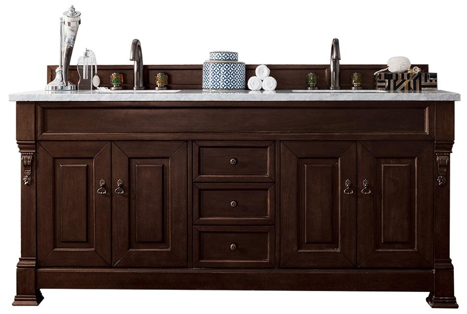 "72"" Brookfield Burnished Mahogany Double Bathroom Vanity, James Martin Vanities - vanitiesdepot.com"