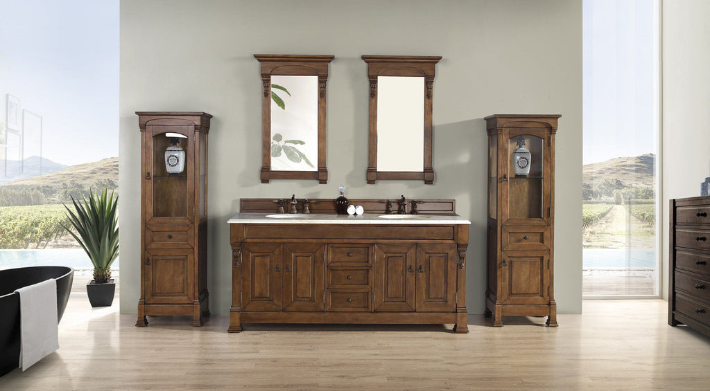 Brookfield Country Oak Linen Cabinet, James Martin Vanities - vanitiesdepot.com