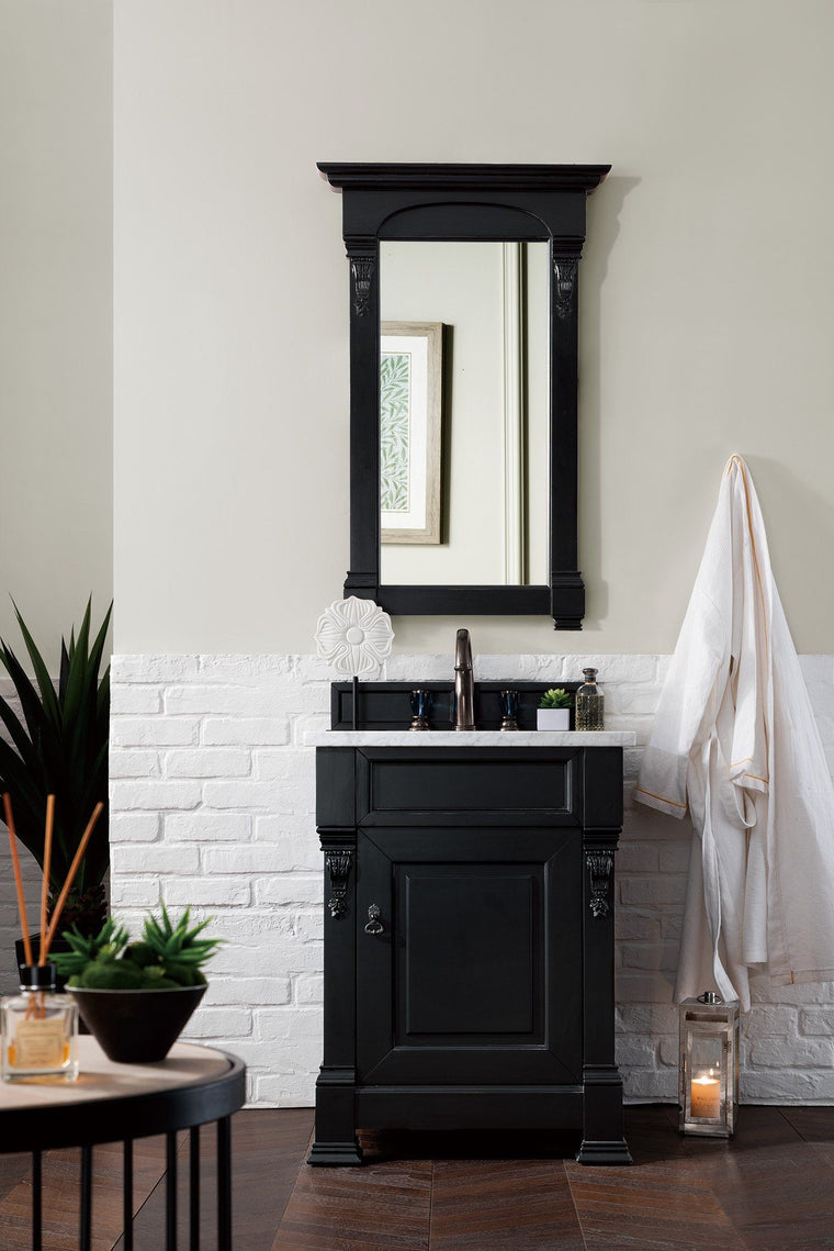 "26"" Brookfield Antique Black Single Bathroom Vanity - vanitiesdepot.com"
