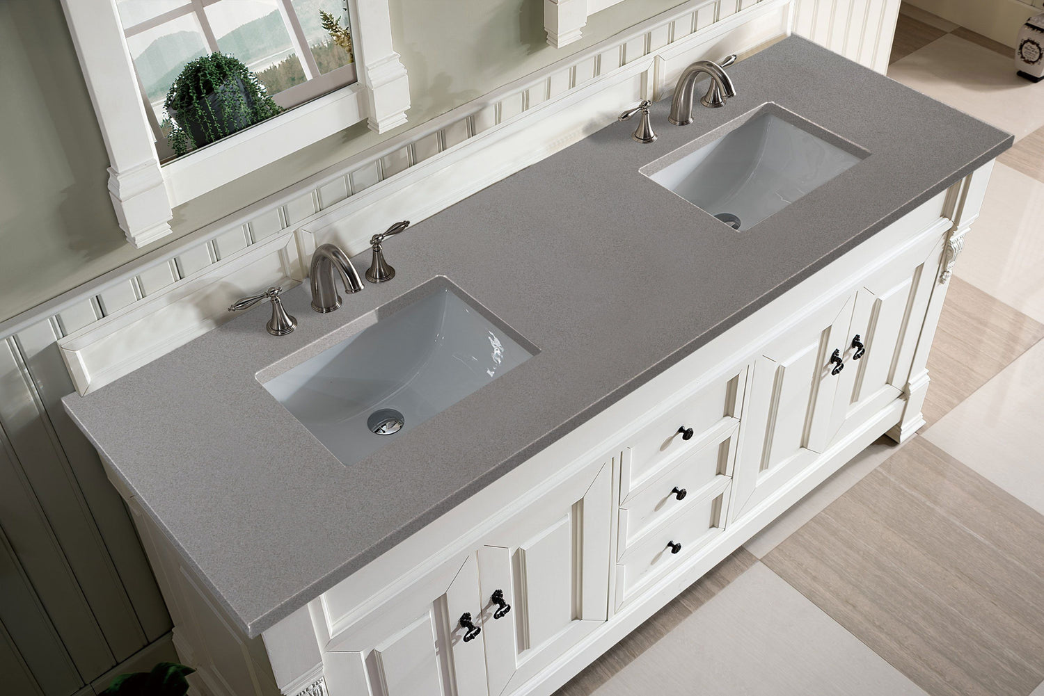 "72"" Brookfield Bright White Double Bathroom Vanity"