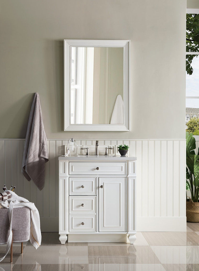 "30"" Bristol Single Bathroom Vanity, Bright White"