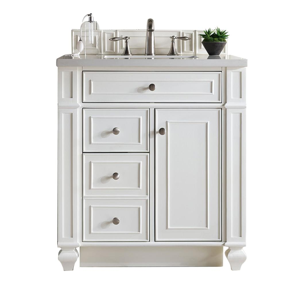"30"" Bristol Single Bathroom Vanity, Cottage White, James Martin Vanities - vanitiesdepot.com"