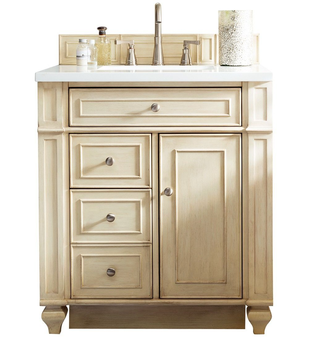 "30"" Bristol Single Bathroom Vanity, Vintage Vanilla, James Martin Vanities - vanitiesdepot.com"