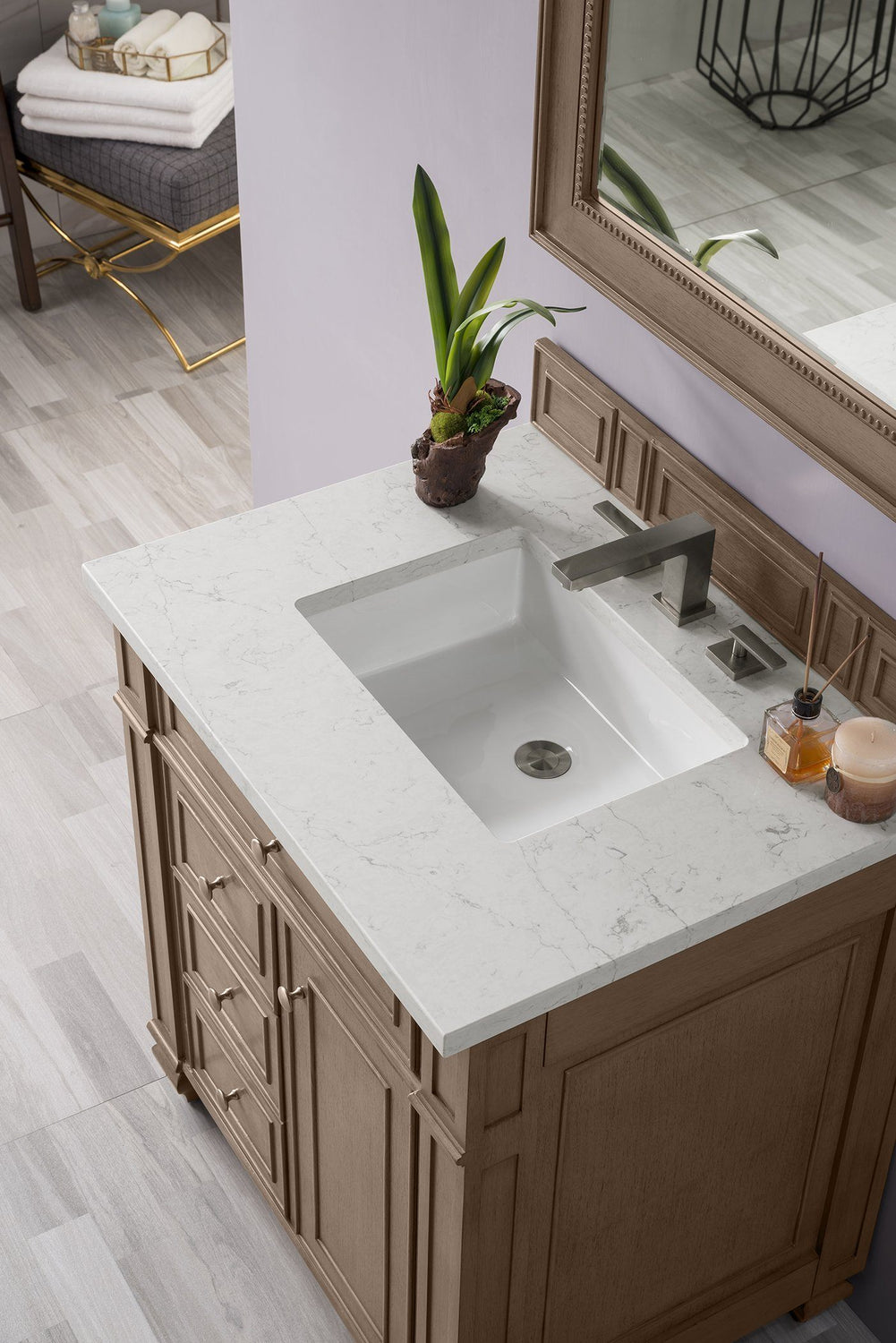 "30"" Bristol Single Bathroom Vanity, White Washed Walnut, James Martin Vanities - vanitiesdepot.com"
