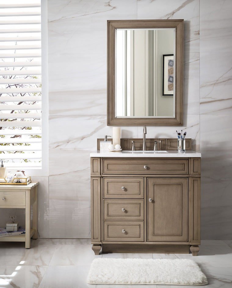 "36"" Bristol Whitewashed Walnut Single Bathroom Vanity - vanitiesdepot.com"