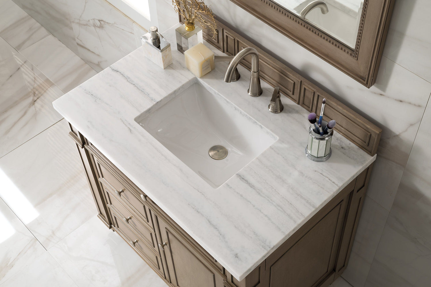 "36"" Bristol Whitewashed Walnut Single Bathroom Vanity, James Martin Vanities - vanitiesdepot.com"