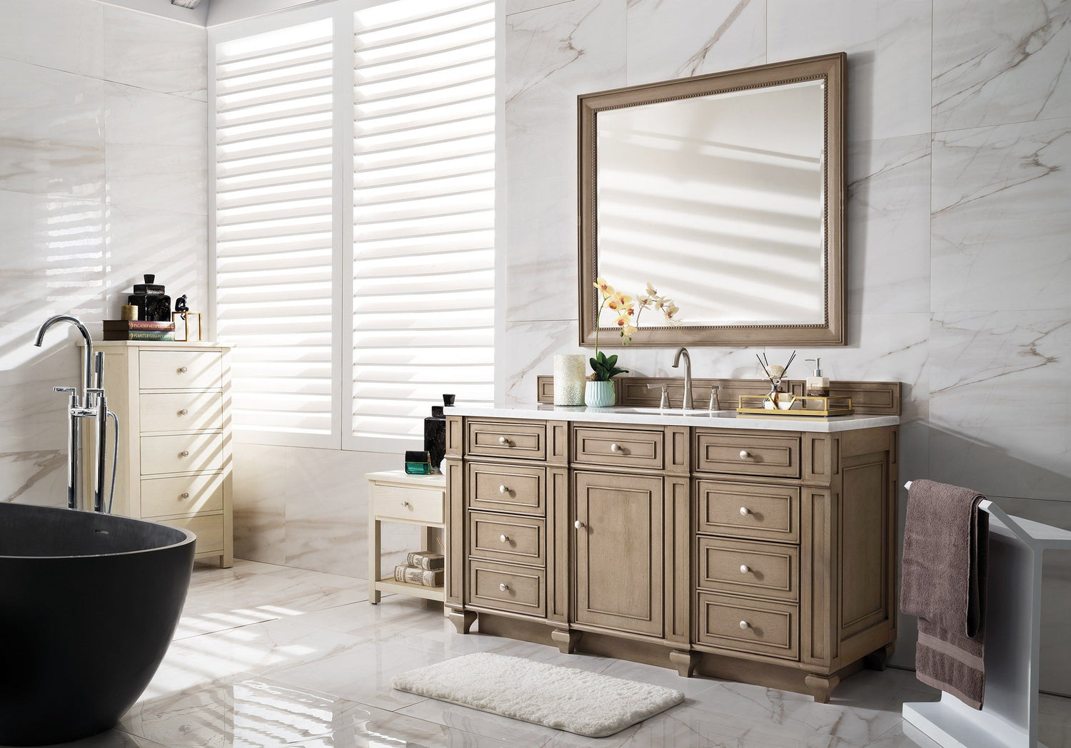 "60"" Bristol Whitewashed Walnut Single Bathroom Vanity, James Martin Vanities - vanitiesdepot.com"